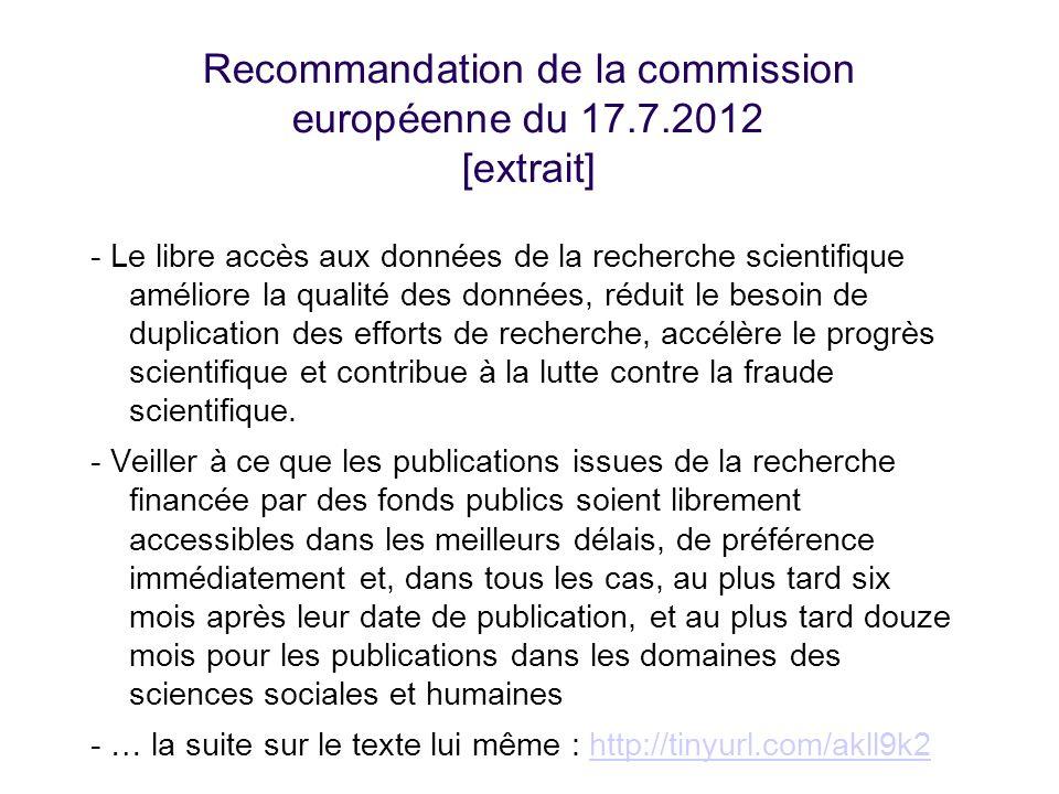 Recommandation de la commission européenne du 17.7.2012 [extrait]